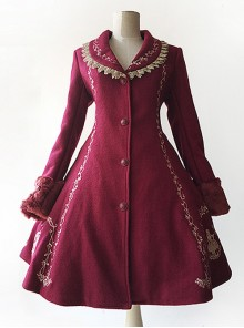 Cinderella Embroidery Version Wine Red Lolita Winter Thickening And Cashmere Overcoat