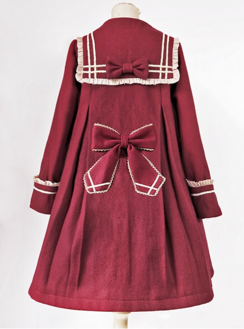 College Style Bowknot Wine Red Navy Collar Lolita Coat