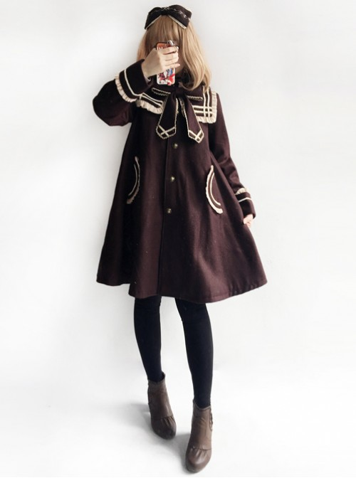 College Style Bowknot Brown Navy Collar Lolita Coat