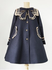 College Style Bowknot Navy Blue Navy Collar Lolita Coat