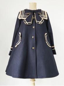 College Style Bowknot Navy Blue Navy Collar Lolita Coat