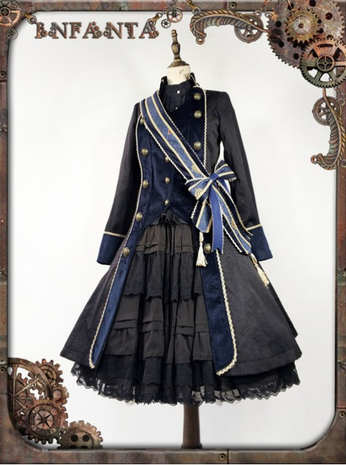 At Dusk Series Fake Two Pieces Navy Blue Gothic Lolita Coat