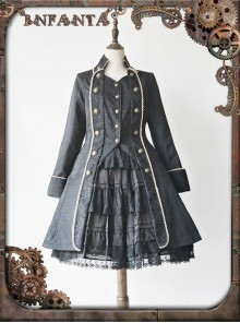 At Dusk Series Fake Two Pieces Black Gothic Lolita Coat