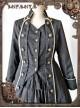 At Dusk Series Fake Two Pieces Black Gothic Lolita Coat