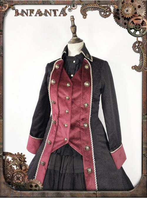 At Dusk Series Fake Two Pieces Wine Red Gothic Lolita Coat