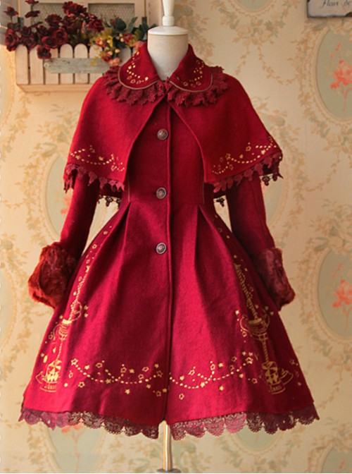 Carousel Series Golden Thread Embroidery Red Plus Cashmere Lolita Coat