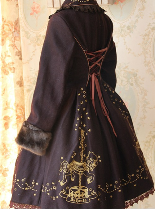 Carousel Series Golden Thread Embroidery Brown Plus Cashmere Lolita Coat