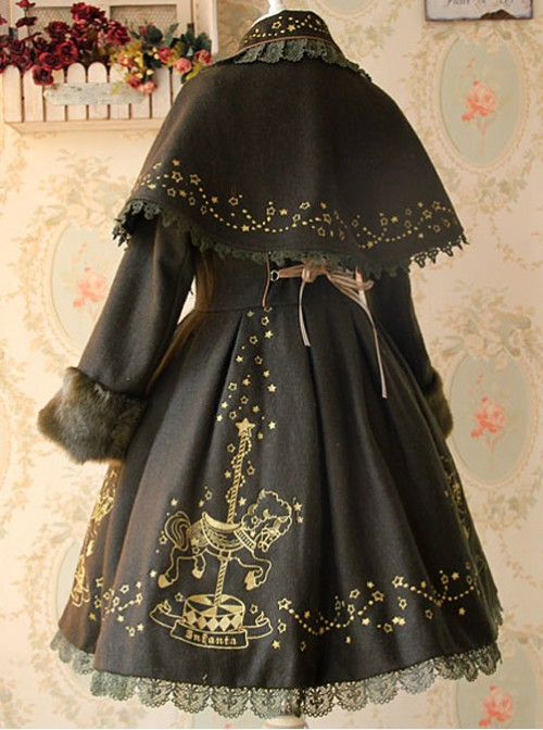 Carousel Series Golden Thread Embroidery Deep Olive Green Plus Cashmere Lolita Coat