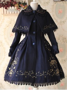 Carousel Series Golden Thread Embroidery Navy Blue Plus Cashmere Lolita Coat