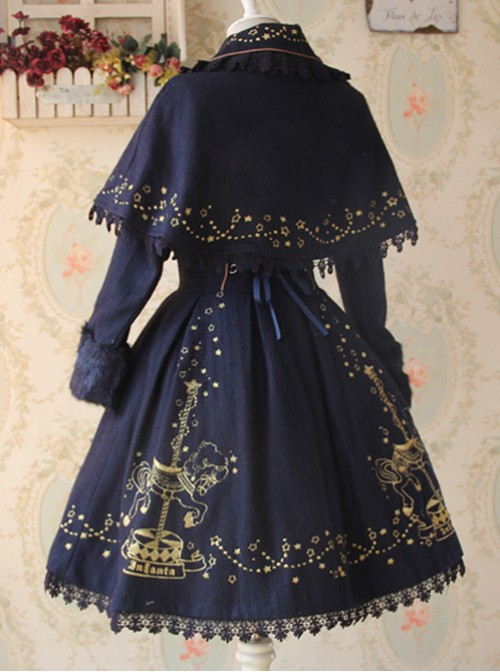 Carousel Series Golden Thread Embroidery Navy Blue Plus Cashmere Lolita Coat