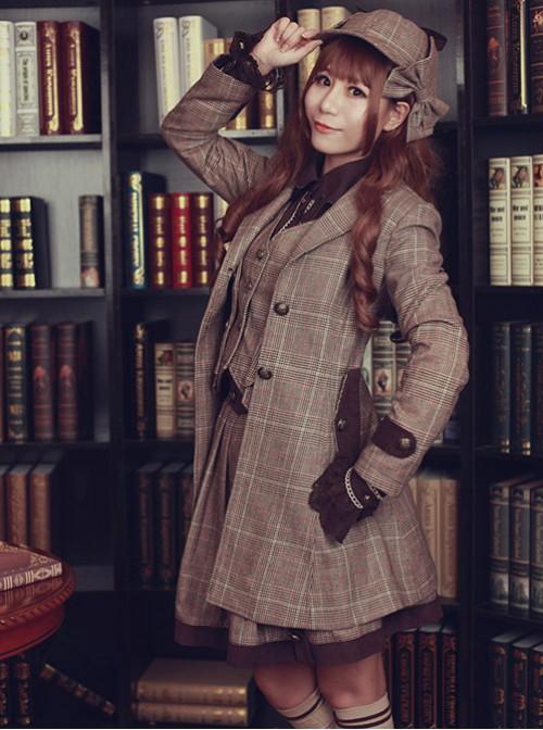 Beck Street's Dense Fog Series Khaki Detective Style Lolita Female Coat