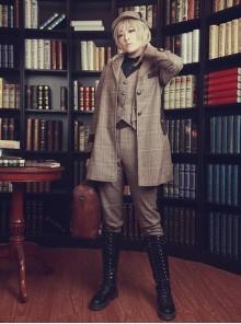 Beck Street's Dense Fog Series Khaki Detective Style Lolita Male Coat