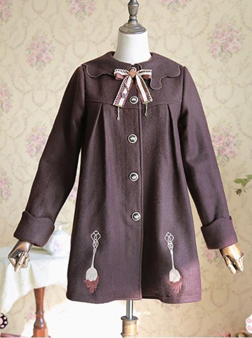 Chocolate Sauce Series Embroidery Chocolate Color Plus Velvet Lolita Coat