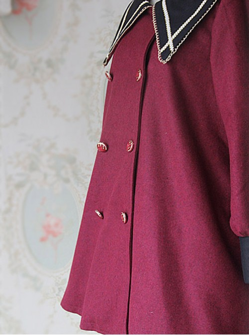 College Style Wine Red Pointed Collar Lolita Coat