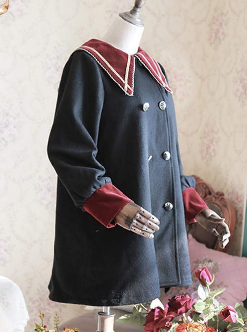 College Style Black Pointed Collar Lolita Thickened Coat