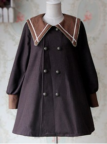 College Style Coffee Color Pointed Collar Lolita Thickened Coat