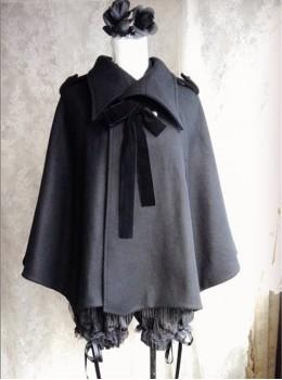Wool Cashmere Black Bat Wing Cloak Gothic Lolita Cloak
