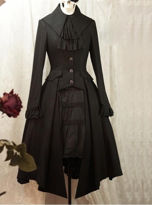 Silent Night Series Pure Wool Black Gothic Lolita Overcoat
