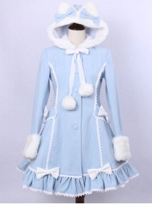 Sky Blue Lace Cute Hooded Sweet Lolita Winter Coat For Women
