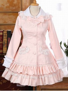 Pink Rabbit Ears Lace Bowknot Lolita Hooded Coat
