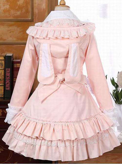 Pink Rabbit Ears Lace Bowknot Lolita Hooded Coat