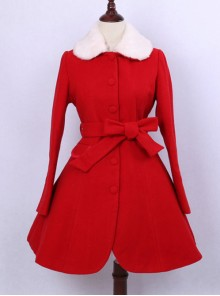 Retro Elegance Christmas Red Woolen Lolita Coat