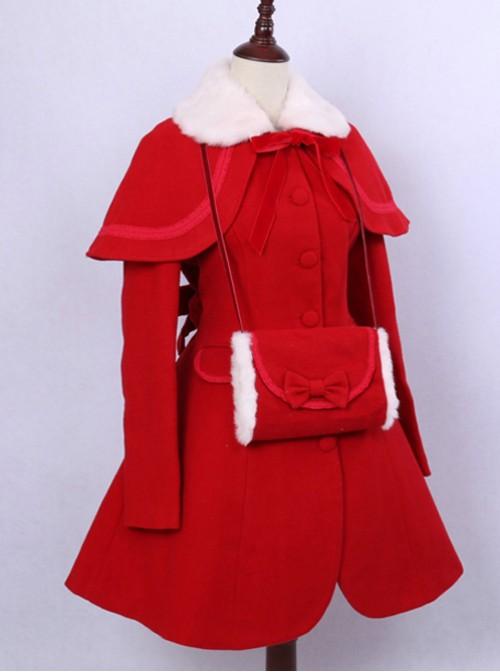 Retro Elegance Christmas Red Woolen Lolita Coat