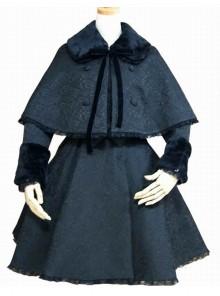 Flocking Lace Elegance Black Gothic Lolita Coat
