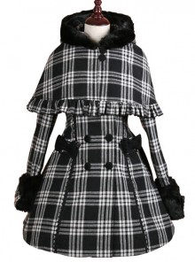 Double-breasted Black Lattices Cute Lolita Women Winter Woolen Hooded Coat