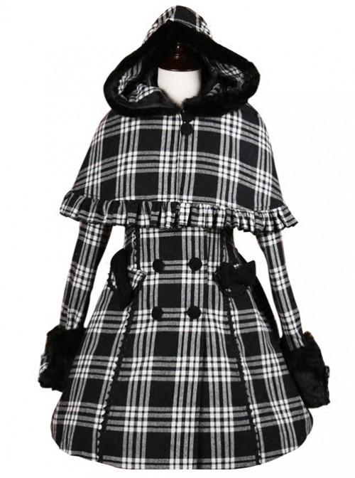 Double-breasted Black Lattices Cute Lolita Women Winter Woolen Hooded Coat