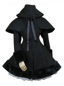 Black Hooded Shawl Corset Binding Bands Lovely Lolita Woolen Coat