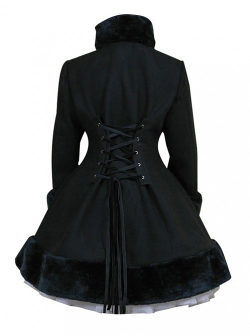 Black Hooded Shawl Corset Binding Bands Lovely Lolita Woolen Coat