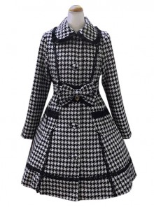 Swallow Plaids Slim Fit Lace Lapel Lolita Womens Woolen Winter Coat