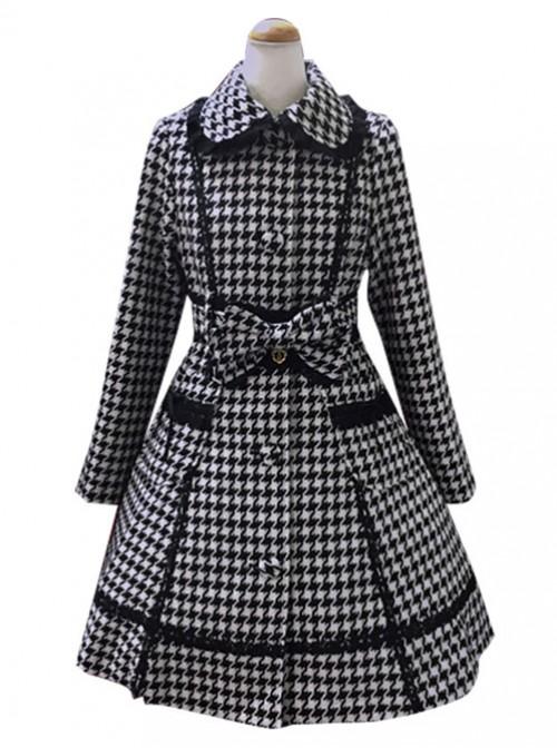 Swallow Plaids Slim Fit Lace Lapel Lolita Womens Woolen Winter Coat