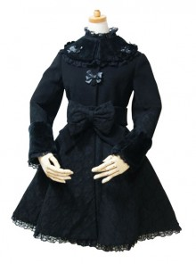 Black Lace Retro Large Bowknot Woolen Lolita Coat