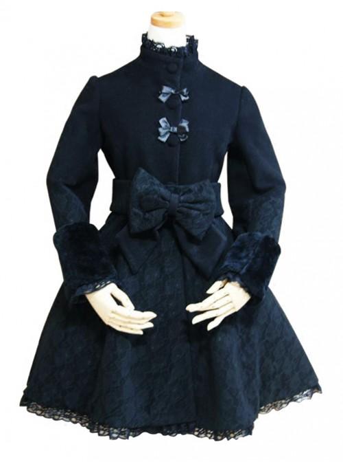 Black Lace Retro Large Bowknot Woolen Lolita Coat