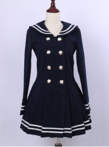 College Style Deep Blue Double-breasted Navy Collar Pleated Skirt Pendulum Woolen Lolita Coat