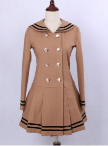 College Style Light Tan Double-breasted Navy Collar Pleated Skirt Pendulum Woolen Lolita Coat