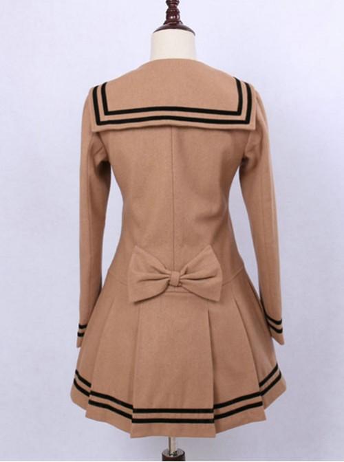 College Style Light Tan Double-breasted Navy Collar Pleated Skirt Pendulum Woolen Lolita Coat