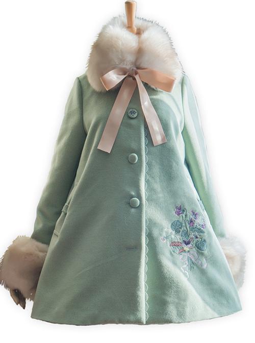 Gentle Pure Color Embroidery Classic Lolita Fur Collar Woolen Coat
