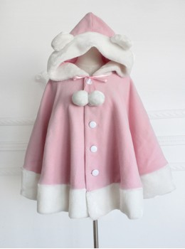 Shirokuma Cafe Cute Wool And Cashmere Bear Ears Sweet Lolita Cloak