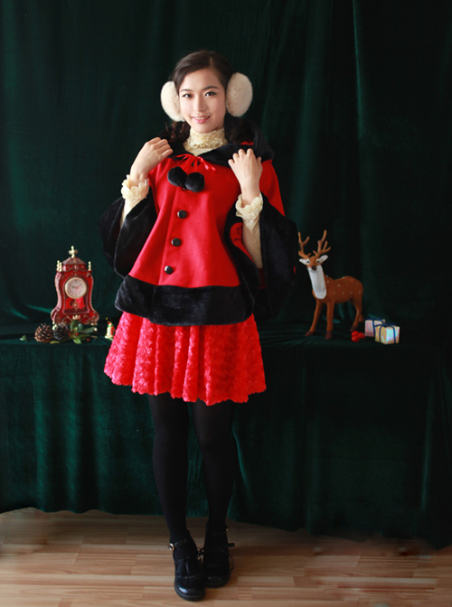 Shirokuma Cafe Cute Wool And Cashmere Bear Ears Sweet Lolita Cloak