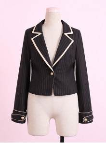 Military Uniform Style Lolita Stripes jacket