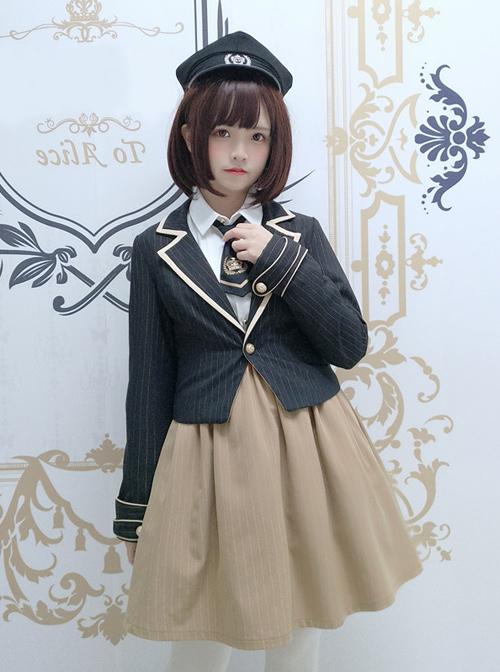 Military Uniform Style Lolita Stripes jacket