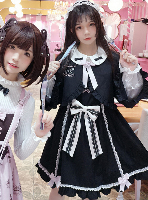 Cute Knife And Fork Embroidery Lolita Black Short Style Small Coat