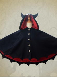 Devils Ears Bat Lolita Autumn Winter Black Woolen Cloak