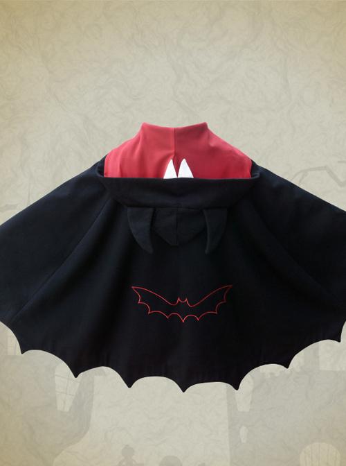 Devils Ears Bat Lolita Autumn Winter Black Woolen Cloak