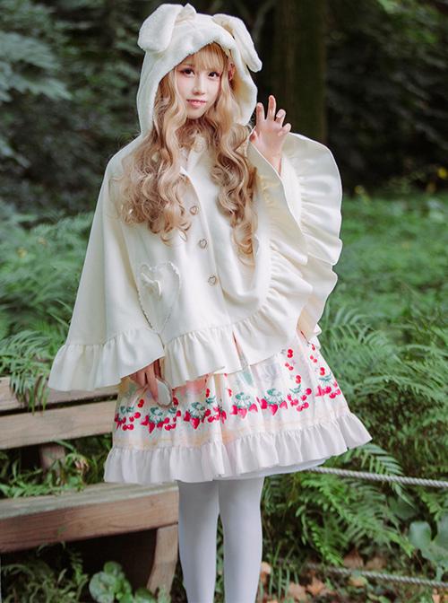 Cute Rabbit Ears Bowknot Sweet Lolita Thicken Tweed Cloak