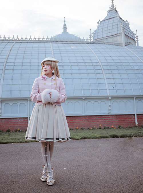 White Lace Pink Cute And Warm Lolita Napoleon Short Coat