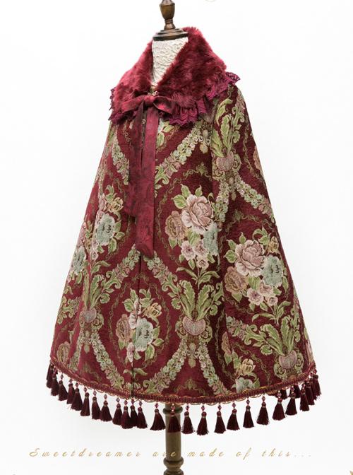 Jacquard Windbreak Gorgeous Retro Classic Lolita Cloak